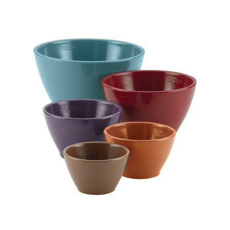 Rachael Ray Cucina Melamine Nesting Measuring Cups, 5-Piece Set, Assorted, Multicolor