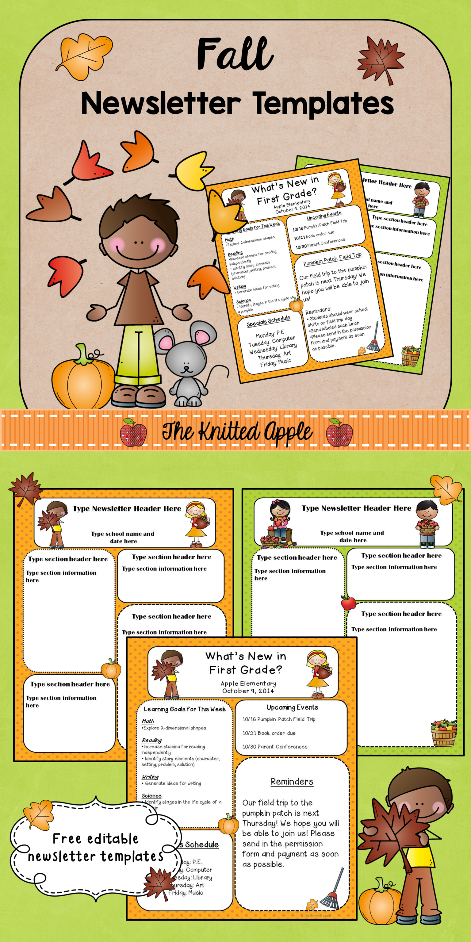 fall newsletter templates freebie tpt free lessons pinterest