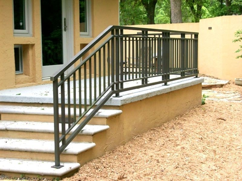 Wrought iron and wood exterior front porch railing deck - Metal railings for stairs exterior ...