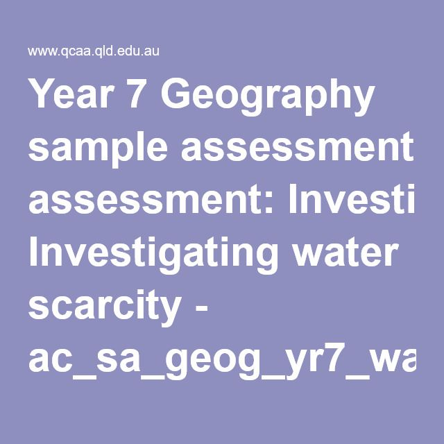 Year  Geography Sample Assessment Investigating Water Scarcity