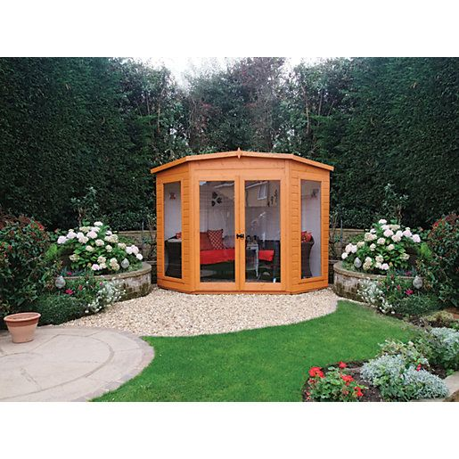 Wickes Barclay Pent Double Door Dip Treated Corner Summerhouse - 7 x ...