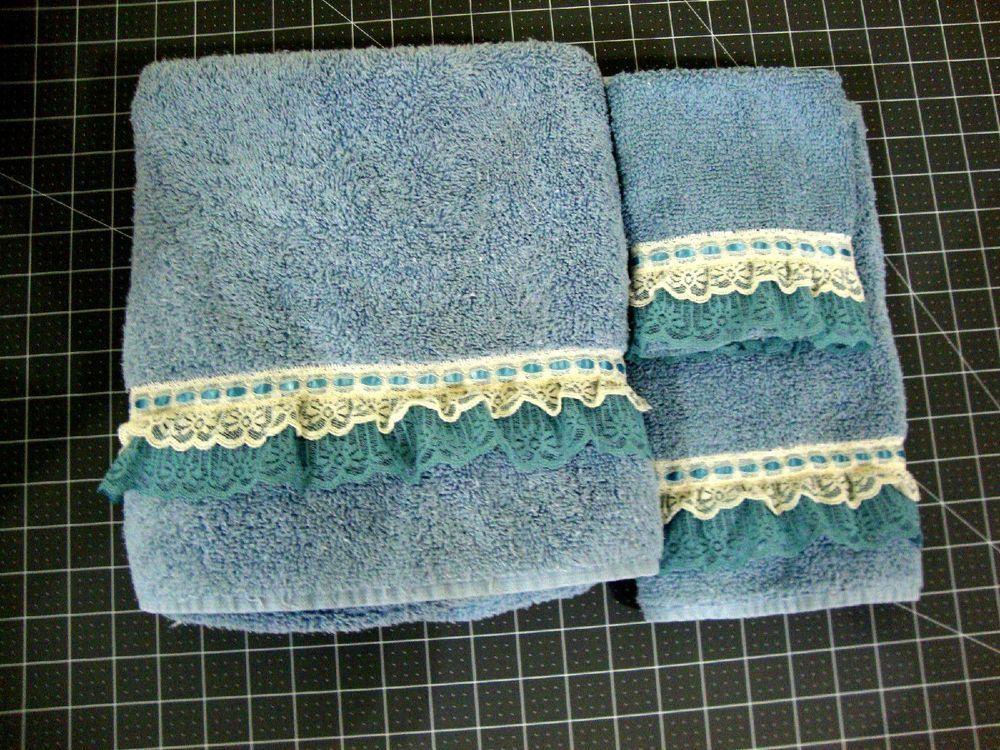3Pc. by Collections Etc Lace Trim Bath Towel Set