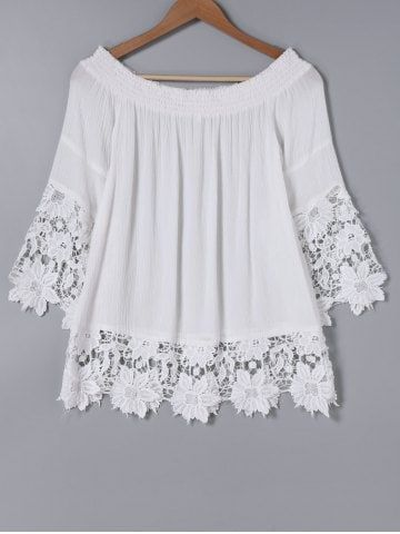 Elegant Off The Shoulder Lace Spliced White Blouse