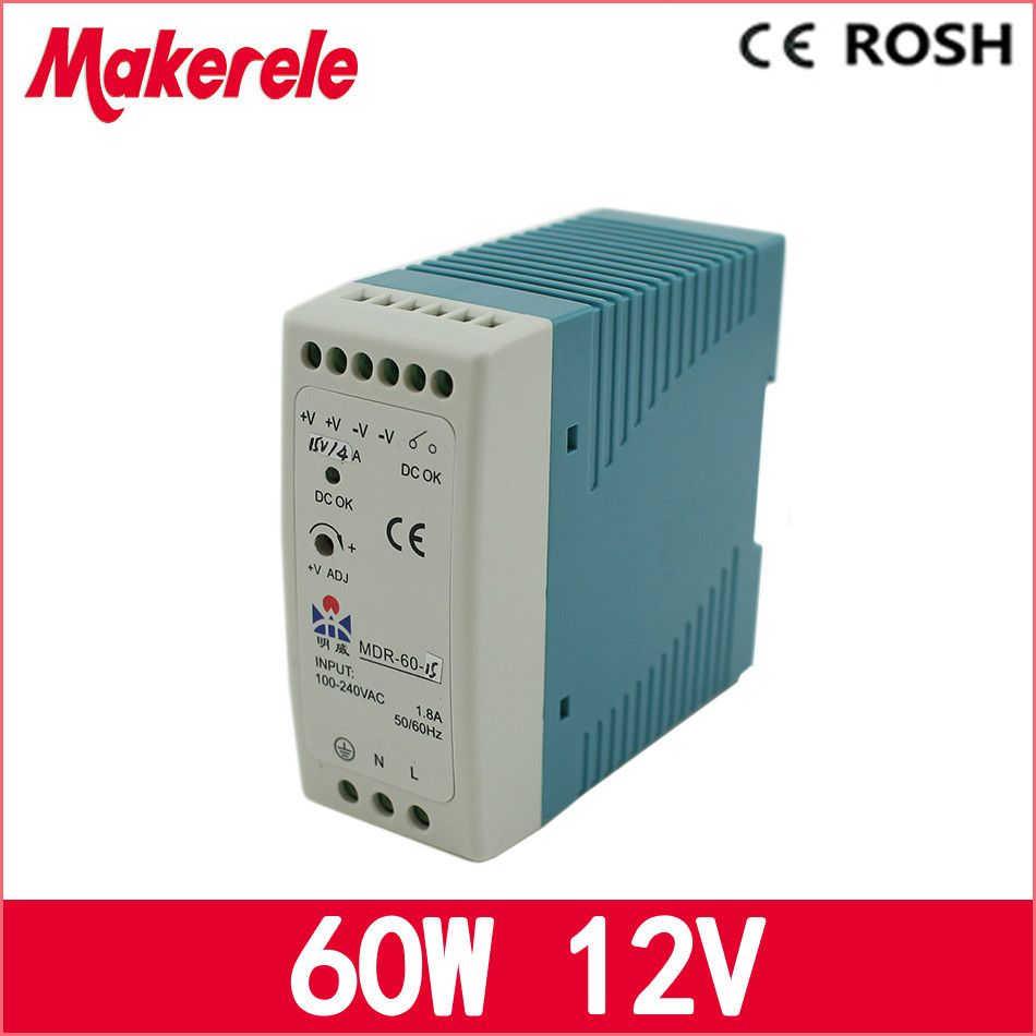 ac dc din rail power supply MDR6012 12V 5A 60W Switching