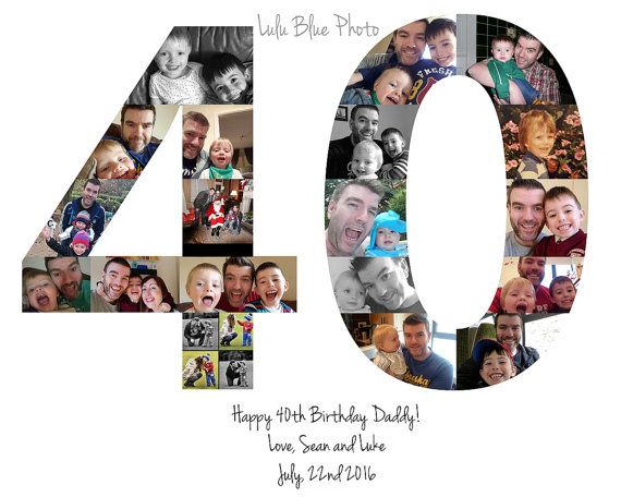 Personalized 40th Birthday Gift or Party Decoration Centerpiece Number Photo Collage Custom Made with Your Digital Pictures!