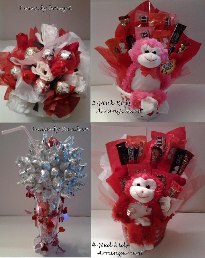 Valentines Day Candy Arrangements My Own Creations Pinterest