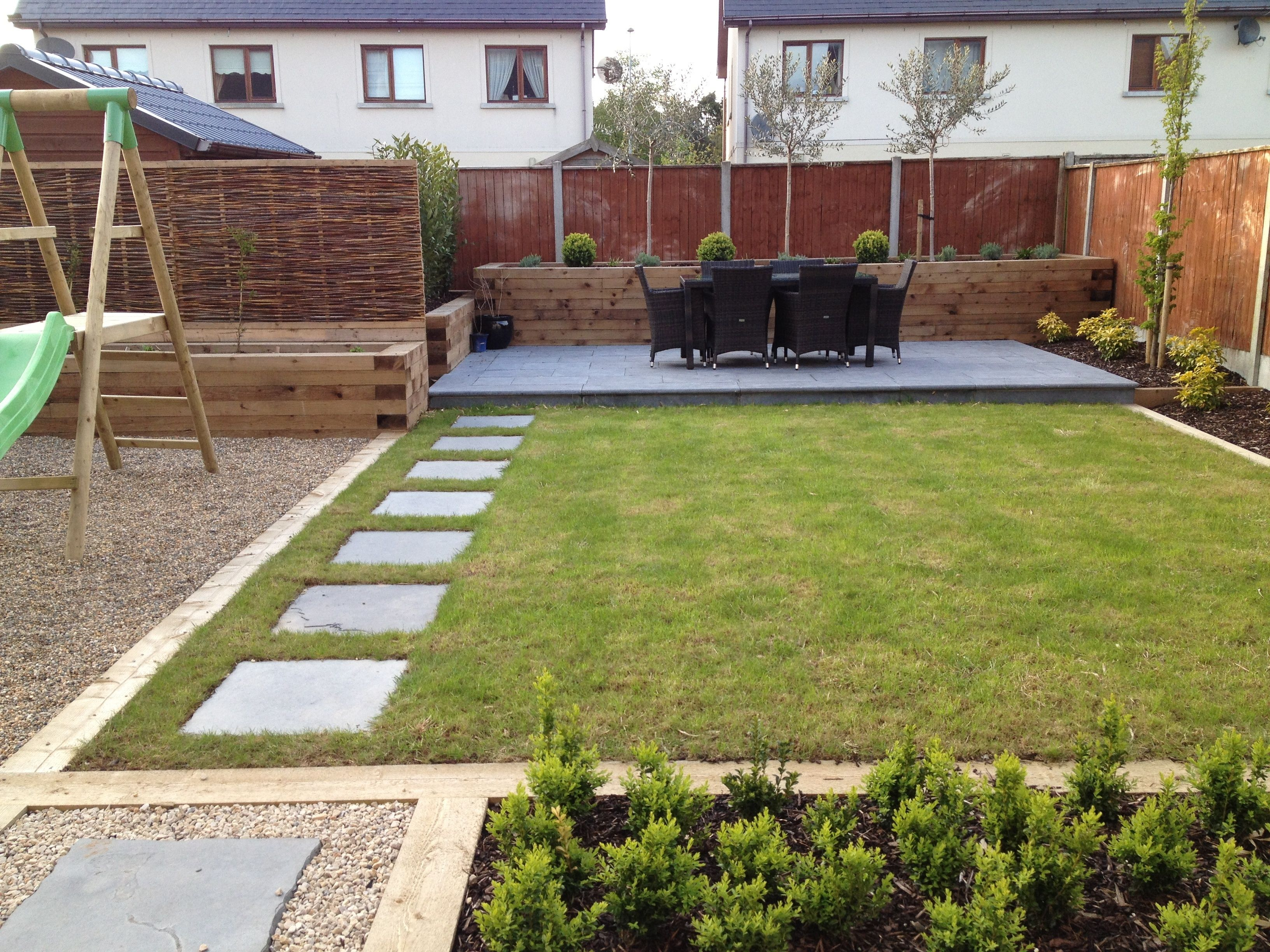 Family garden and landscaping low maintenance family for Garden design ideas new build