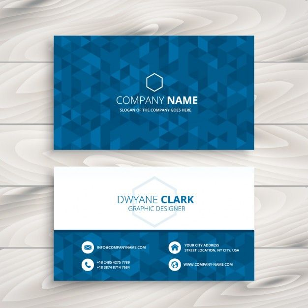 business card with blue triangular pattern free vector graphic
