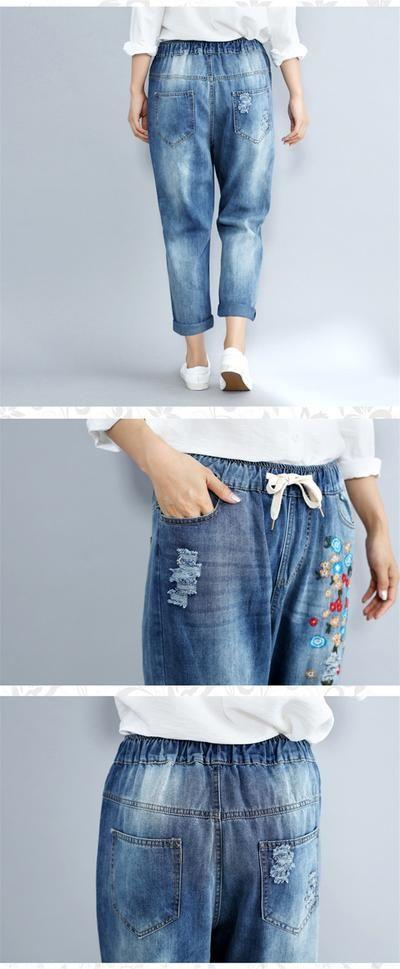 3362777e7b Plus Size 3XL Floral Embroidery Boyfriend Ripped Jeans For Women Harem Pants  Lace Up Drawstring Denim Jeans Vaqueros Mujer C4304