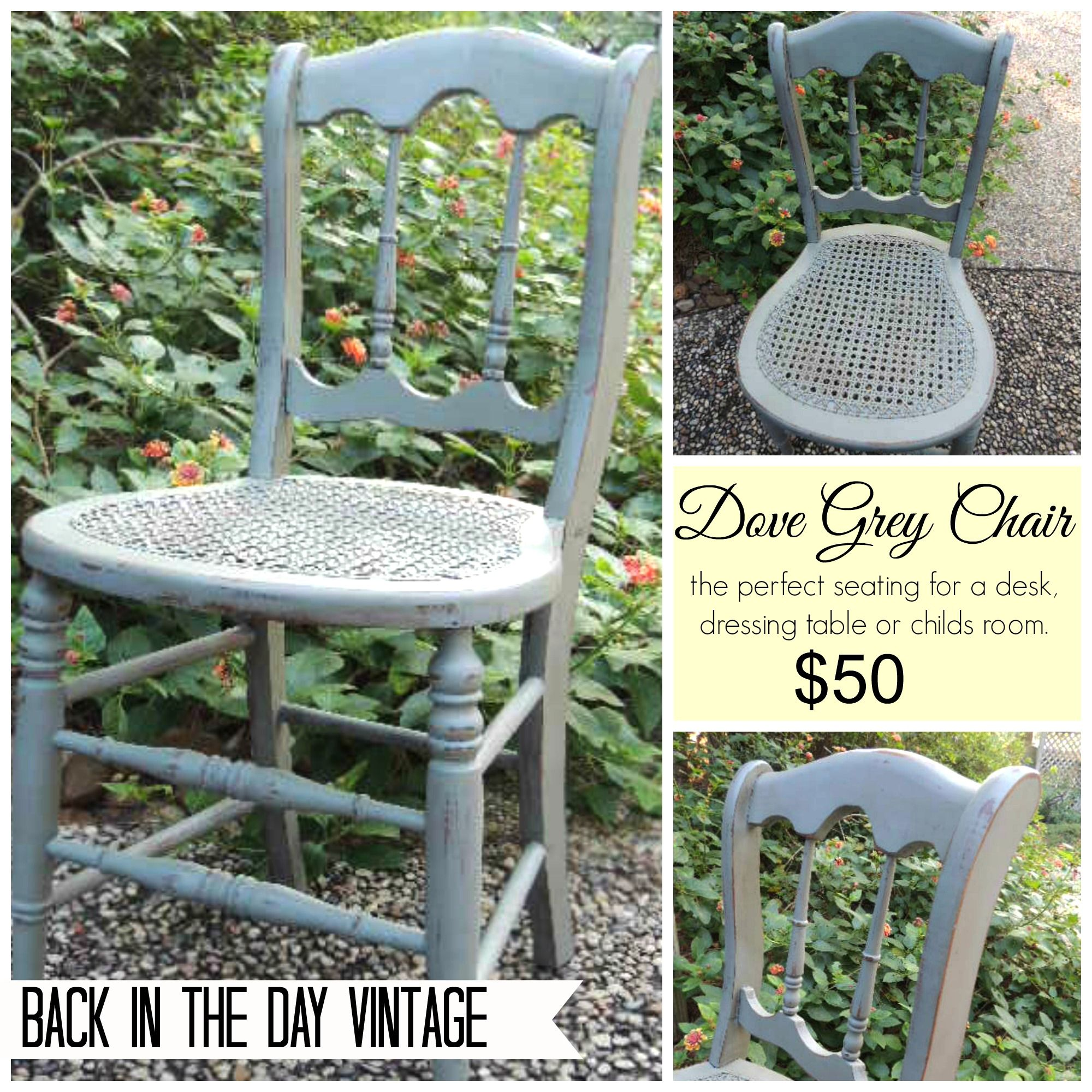Vintage chair painted Dove Grey made by Back In The Day Vintage of Spring, TX