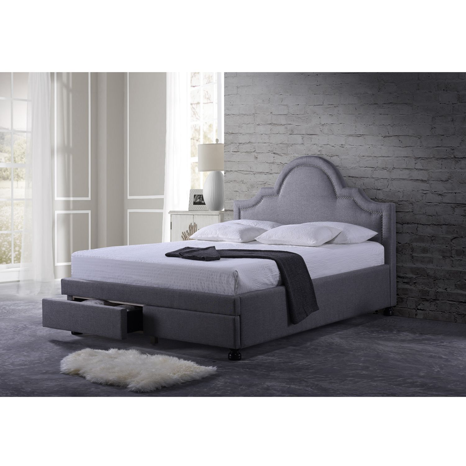 baxton studio vennum grey fabric upholstered storage platform bed with nail head trim house. Black Bedroom Furniture Sets. Home Design Ideas