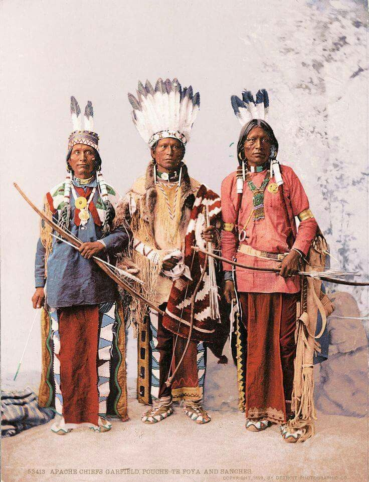 Jicarilla Apache Chiefs Garfield, Ouche-te Foya and Sanches. 1899. Photo by Detroit Photographic Co.