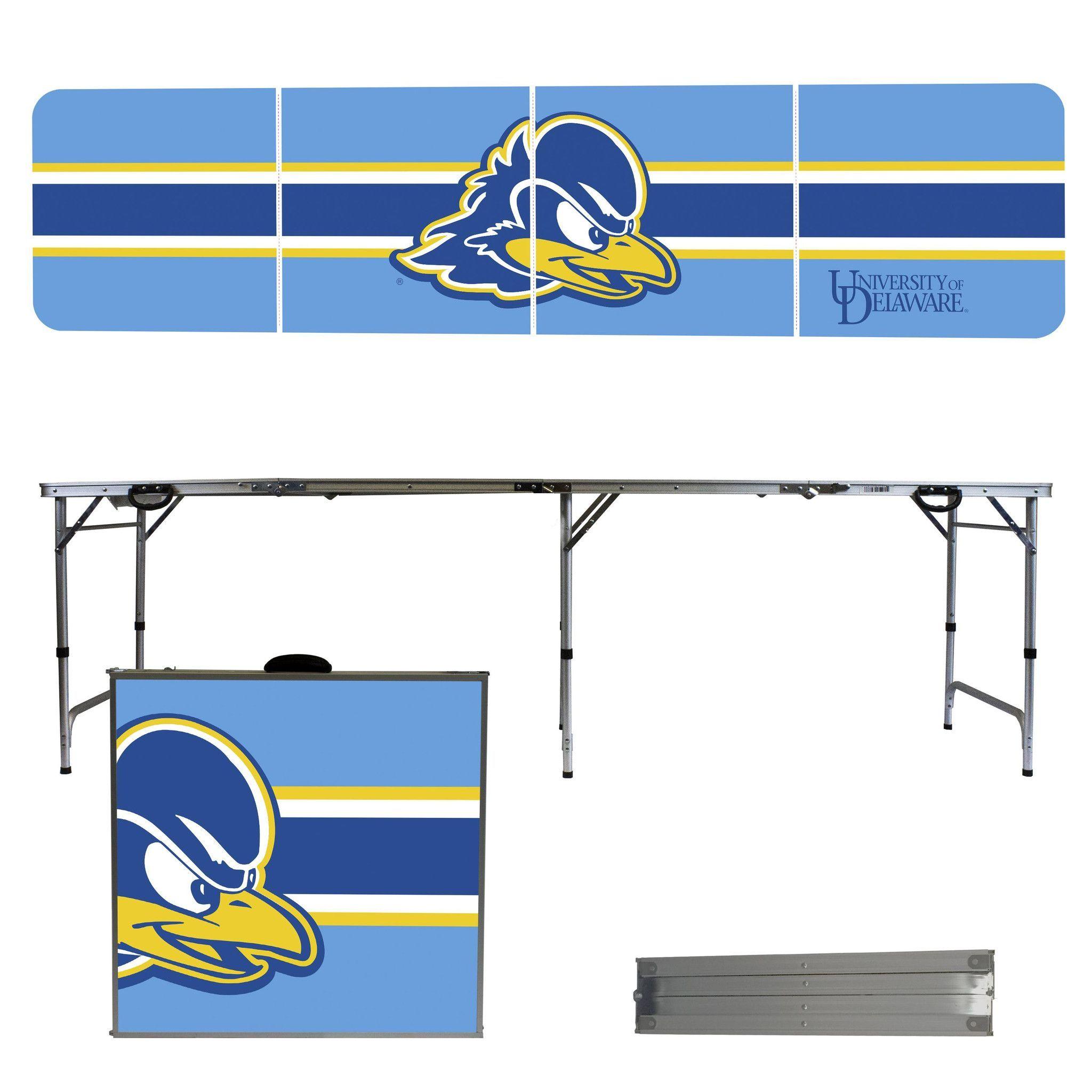 University Of Delaware Blue Hens 8 Foot Portable Tailgate And Pong Table Tailgate Table Delaware Blue Hens Stripes Design