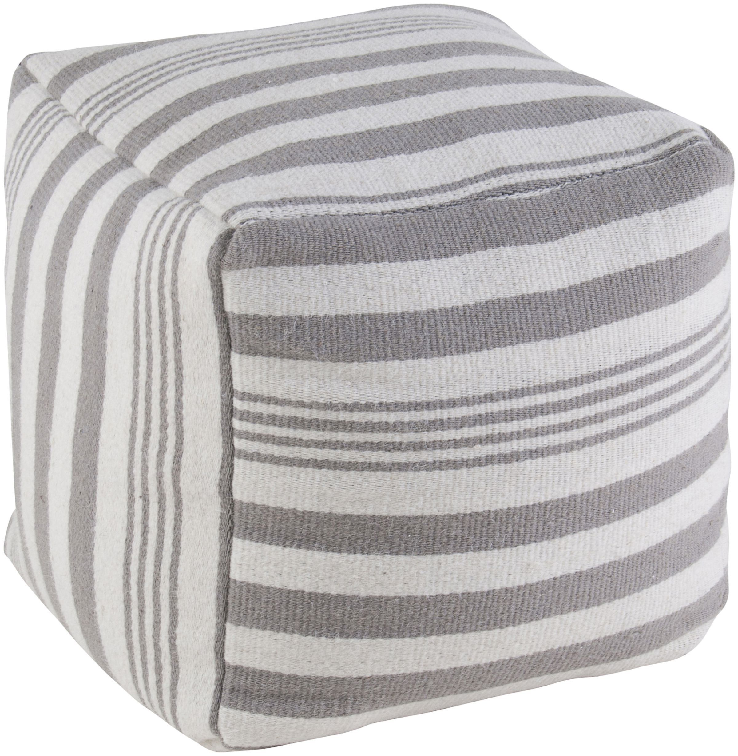 White Pouf Ottoman Amazon  Rizzy Home Striped Wool Pouf Graywhite  $13684