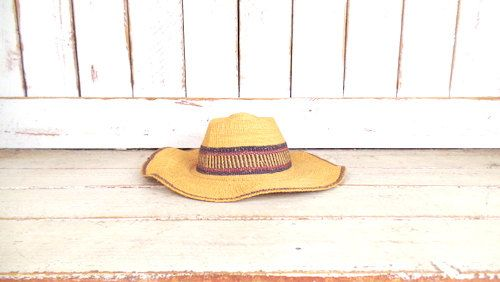 Vintage tan striped ethnic print woven straw sun hat/gardening farming hat/boho straw hat by GreenCanyonTradingCo on Etsy