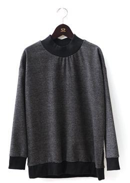 Glen Plaid High Neck Sweatshirt