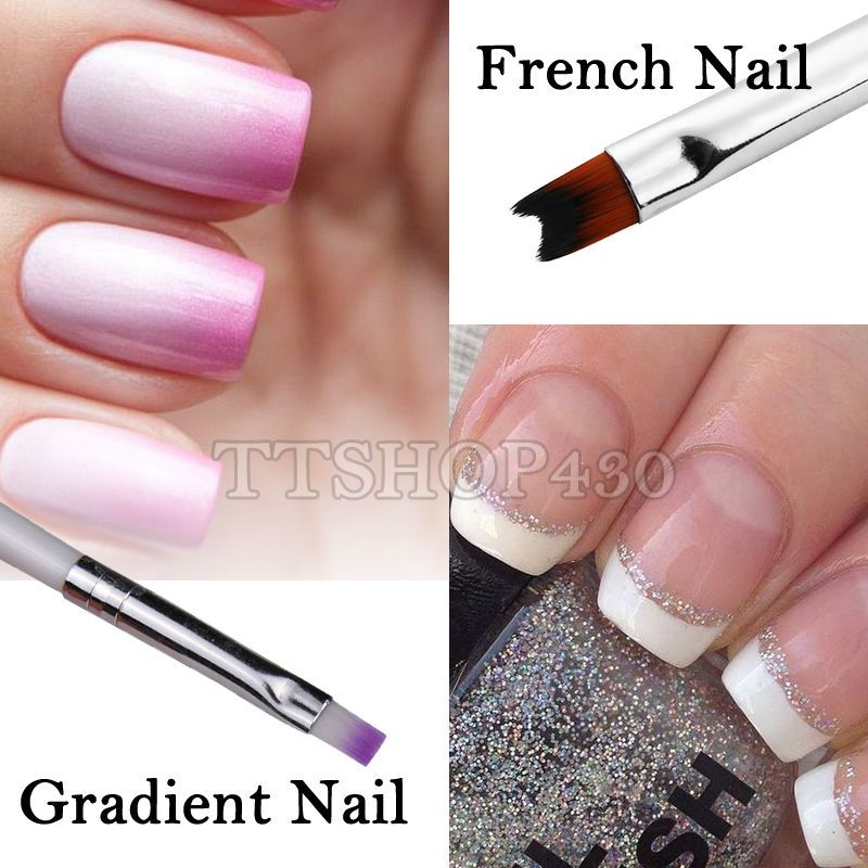 2pcs Set Gradient Ombre UV Gel Nail Pen French Nail Style Brushes ...