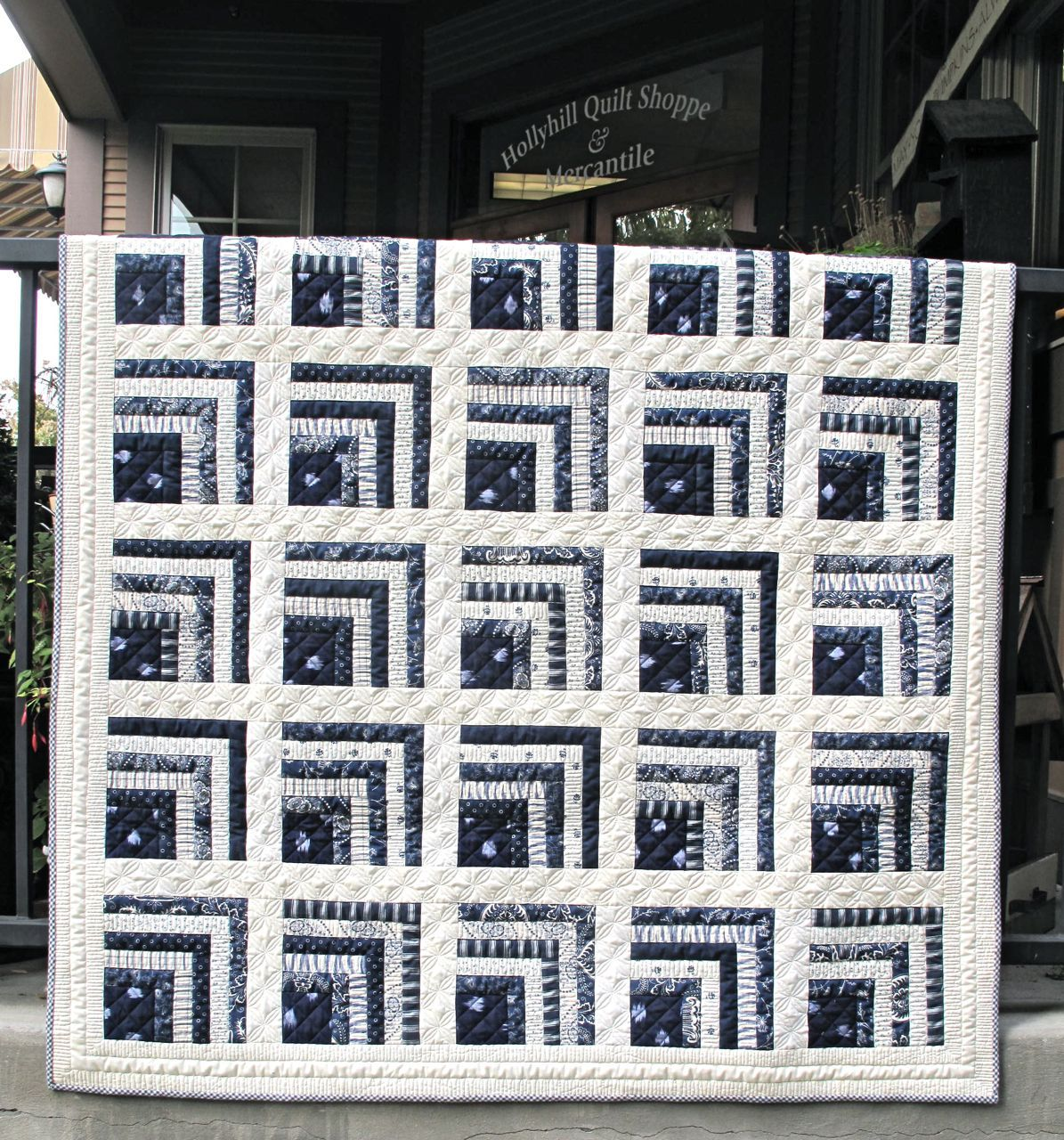 Hollyhill Quilt Shoppe Mercantile Llc Indigo Quilt Quilts Log Cabin Quilts