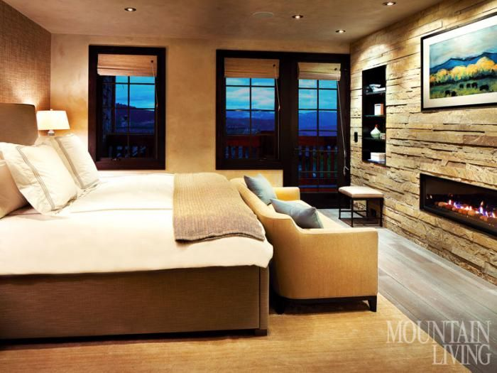 Reclaimed Refinement Mountain Living Beautiful Bedrooms Contemporary Bedroom Stone Fireplace Designs