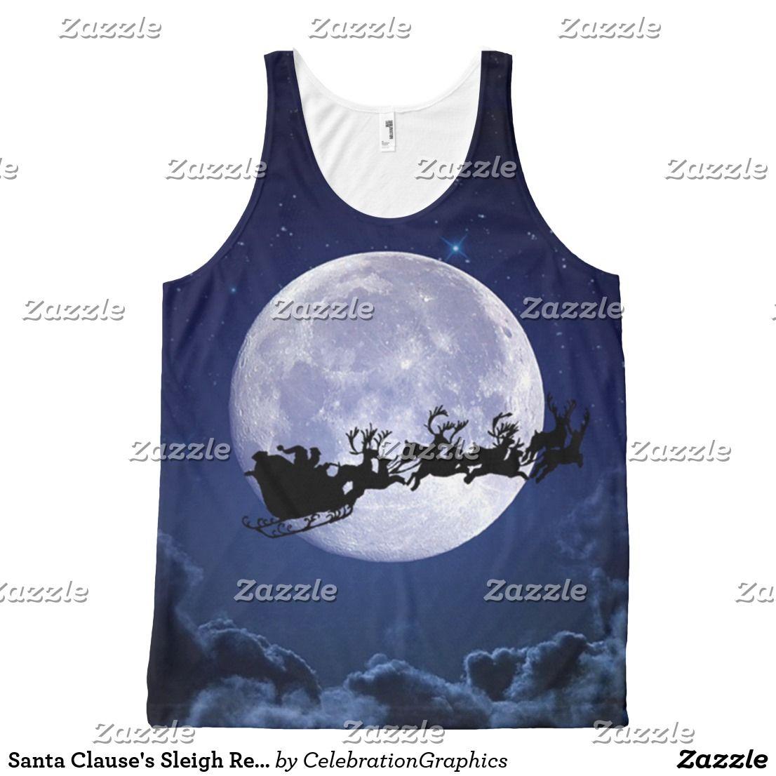 Santa Clause's Sleigh Reindeer Christmas Full Moon All-Over-Print Tank Top | Zazzle.com #santaclause