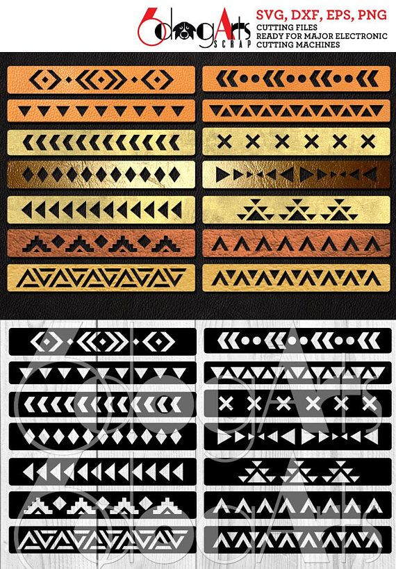 Photo of 14 Navajo Cuff Bracelet Leather Jewelry Templates Vector Digital SVG DXF Cut Files Cuttable Download Laser Cutting Cricut Maker JB-1040