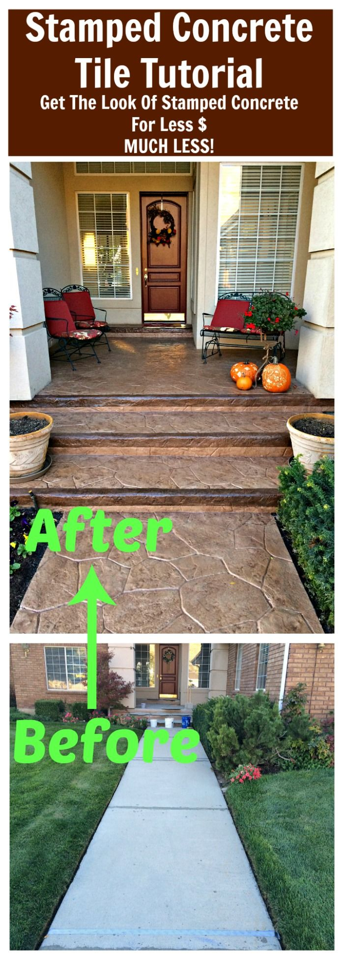 Diy Stamped Concrete Tile Tutorial Do It Yourself Fun Ideas Diy Stamped Concrete Backyard Patio Designs Concrete Patio
