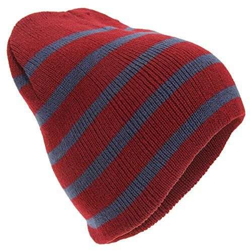 Mens Striped Knitted Beanie Hat (One Size) (Burgundy Navy) Universal  Textiles 68a13b611e32