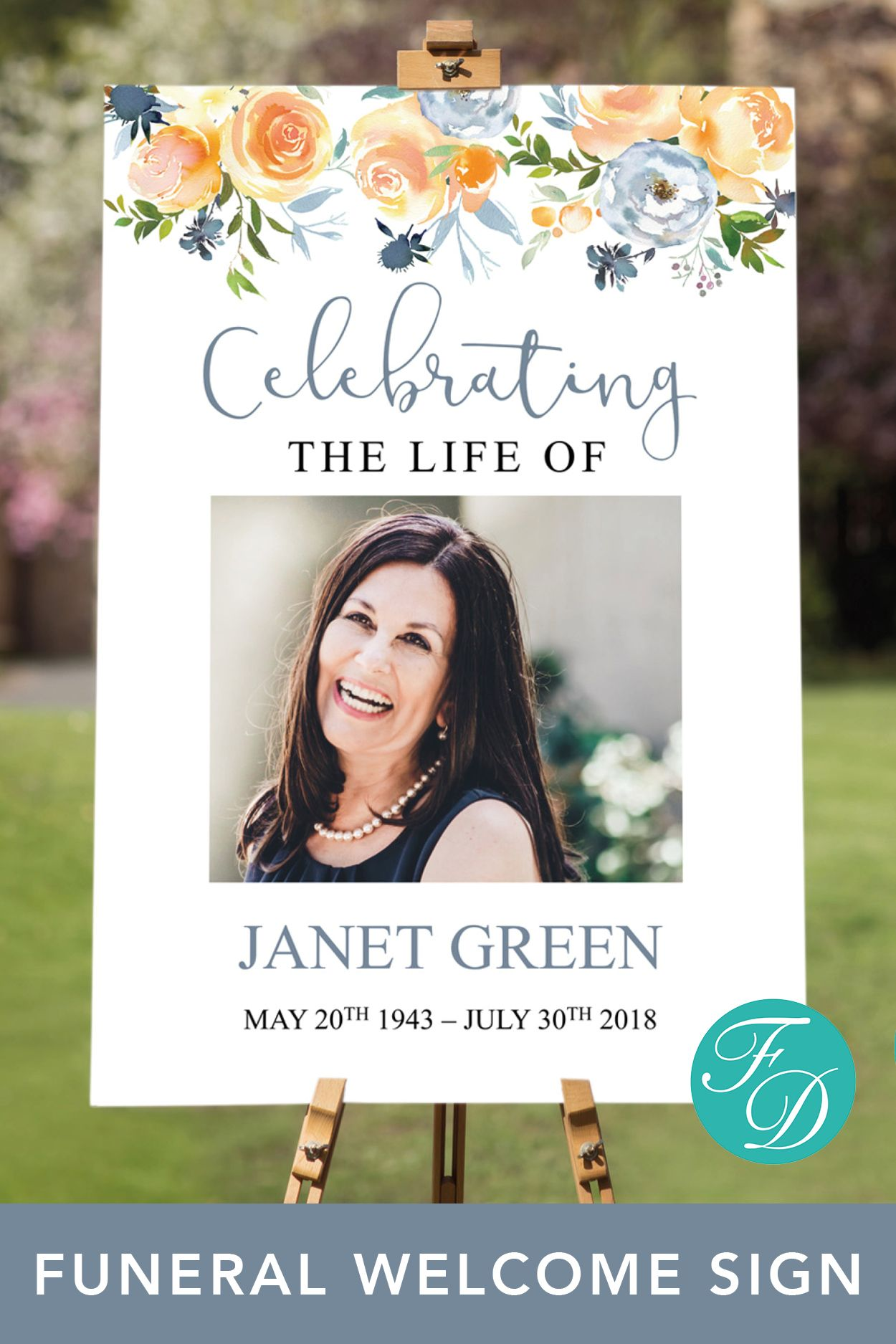 Celebration Of Life Poster Funeral Welcome Sign Celebration Of