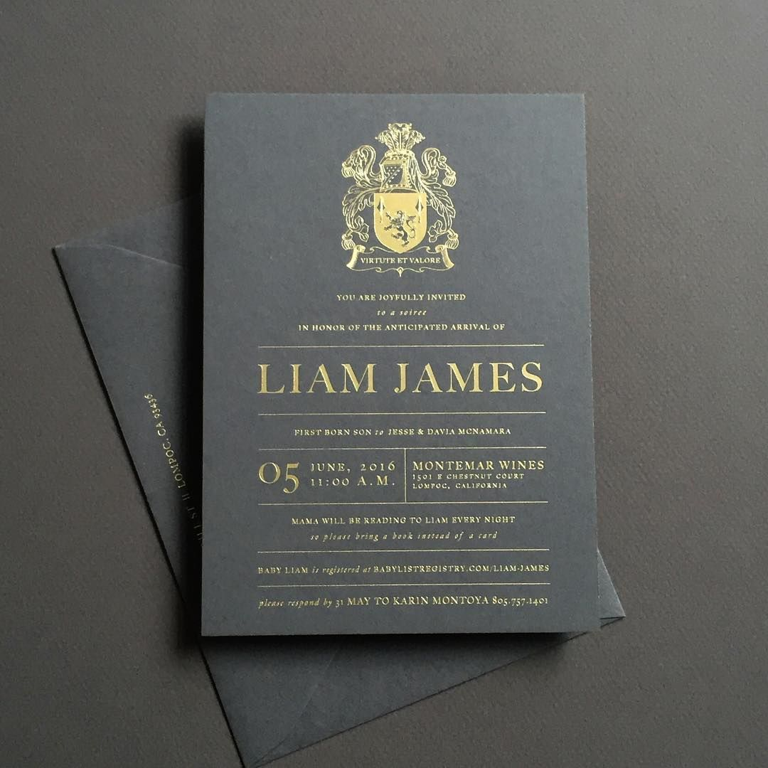 Seriously this baby shower invite is #dabomb @davia_lee gold foil on beautiful charcoal paper, edged in gold, featuring their family crest! Love the #masculine feel of this piece ;) #details #custom #custominvitations #darkgray #moody #charcoal #charcoalinvitations #goldfoil #crest #babyshower #baby #babyshowerinvitations #dream #lovemyjob #goldfoilinvitations