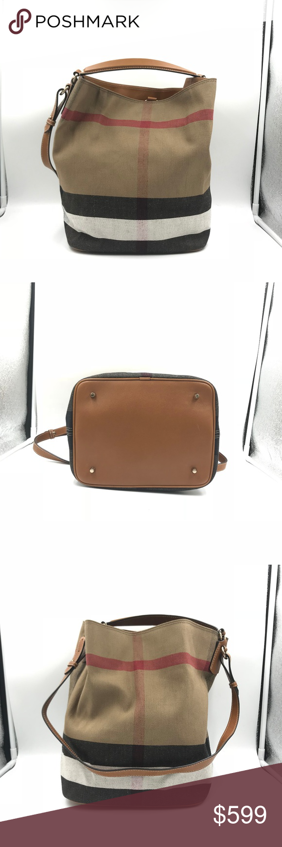 94857877db9 Burberry Medium Ashby Saddle Brown Hobo A Burberry tote crafted in canvas  check with leather trim