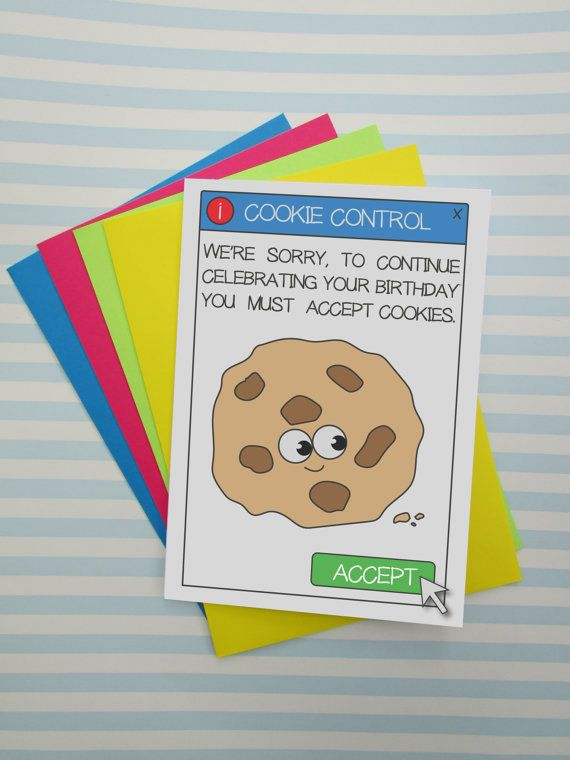 Quirky Cookie Birthday Card Funny Birthday Card Puns Nerd Geek