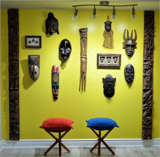 African inspired decor, African mask wall, Collage wall, collection ...