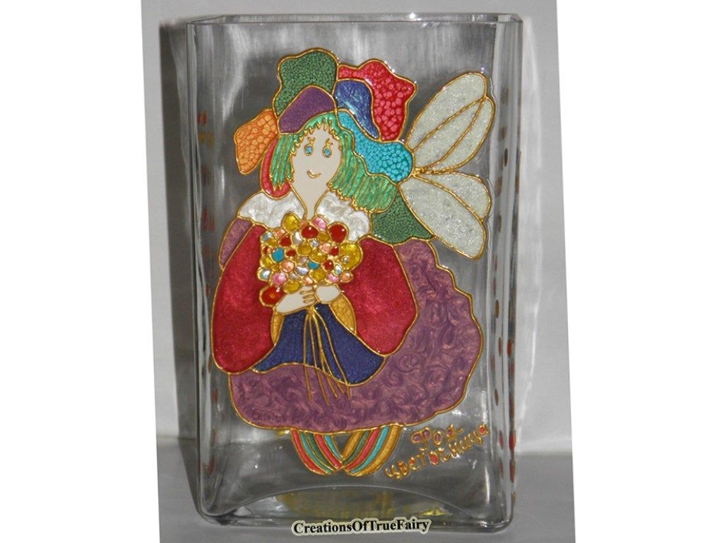 Fairy godmother gift Glass vase Womens gift for mom Mother day gift Handpainted vase Home decor Vase centerpiece Table decor decorations A9F