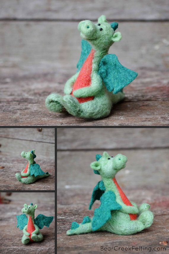 Needle Felted Dragon - Felted Miniature #feltdragon Needle Felted Dragon by Teresa Perleberg #feltdragon