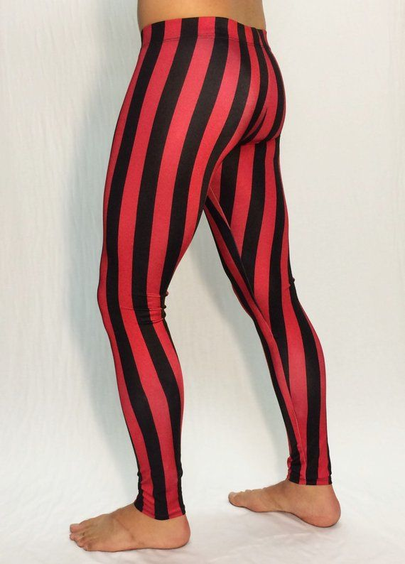 ae9a12ce7baa8 Red & Black Striped Circus Meggings // Steampunk Leggings // Pirate Pants  // Renaissance tights // C