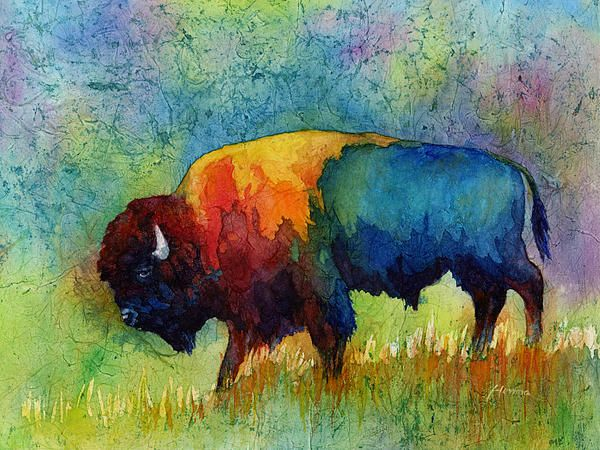 Gorgeous watercolor abstract buffalo.
