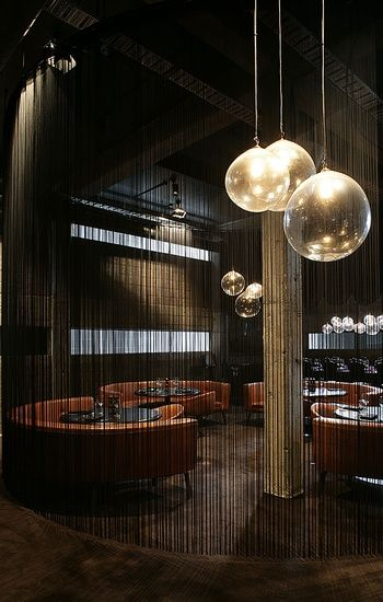 'Clooney' Restaurant — Interior by Fearon Hay Architects, based in Auckland, New Zealand. 'Clooney' is an inhabitation of an industrial volume. The concrete frame and block work walls of the existing shell have been re-interpreted amongst curvaceous forms, fine textures and luxurious fabrics.