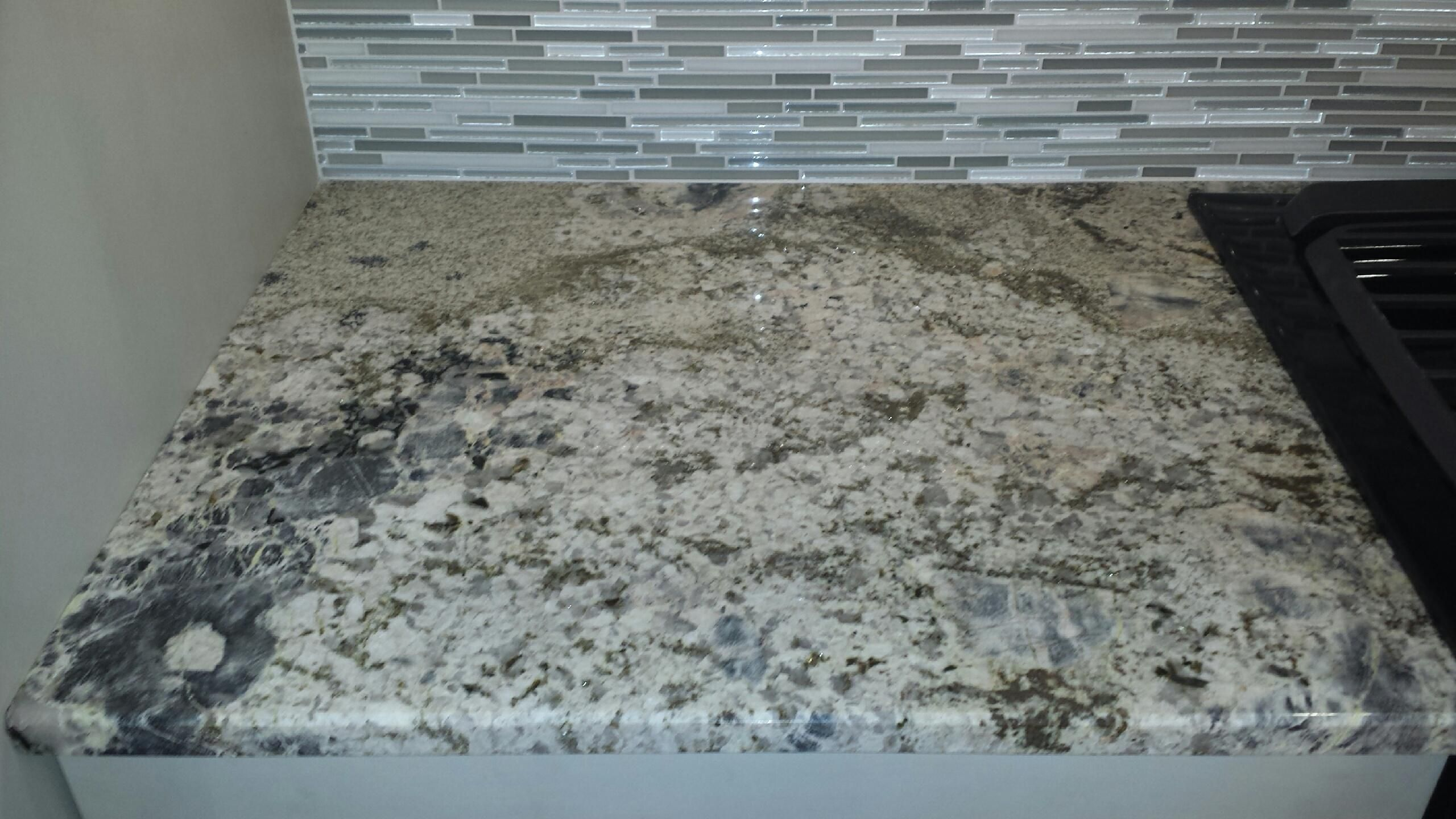 Another sample of the blue flower granite kitchen