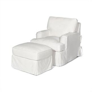 white slipcover chair and ottoman grey tufted dining slipcovered influencer