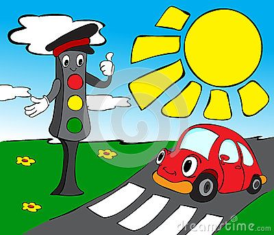 Traffic Lights With Red Car Childrens Drawings Red Car Traffic Light
