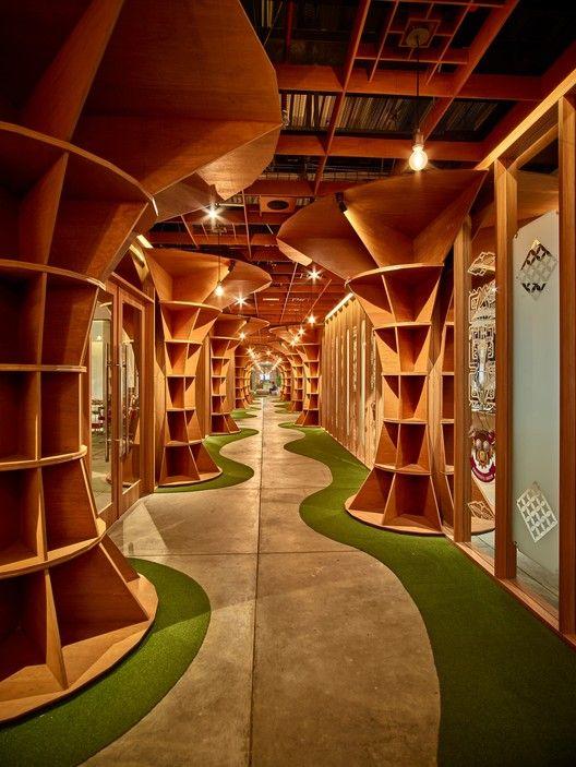 Parabolic Plywood Office Raw Architecture Design Farmacia