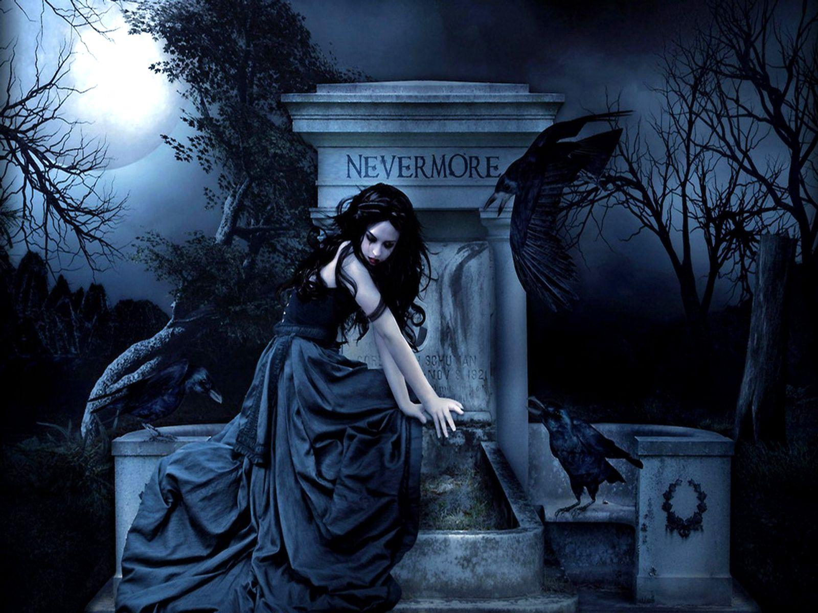 Dark Fantasy Gothic Gothic women dark fantasy poe raven