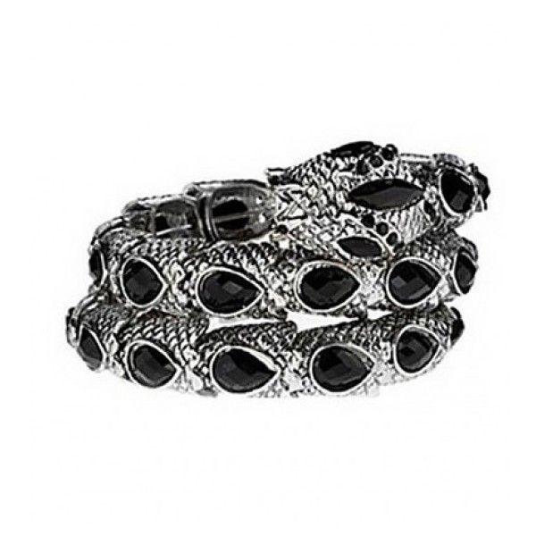 Jewel Embellished Snake Coil Bracelet (£15) ❤ liked on Polyvore