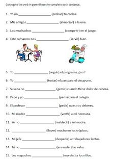 Stem Changing Verbs Worksheet : changing, verbs, worksheet, Changing, Verbs, Worksheets, Spanish, Worksheets,, Conjugation