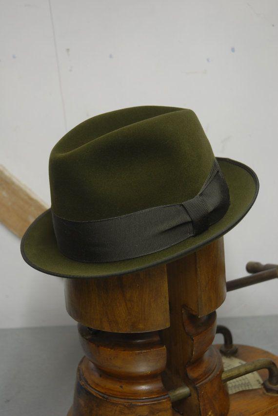 2b35531216962 Vintage 60 s Green Antelope Velour Fur Felt Short Rimmed Fedora ...