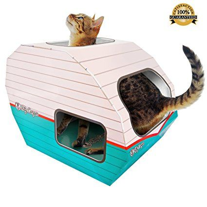 Valentines Gifts Best Cat Toys For Indoor Outdoor Cats By Kitty Camper Stylish Cardboard Play House Now Includ Cardboard Cat House Cool Cat Toys Cat Toys
