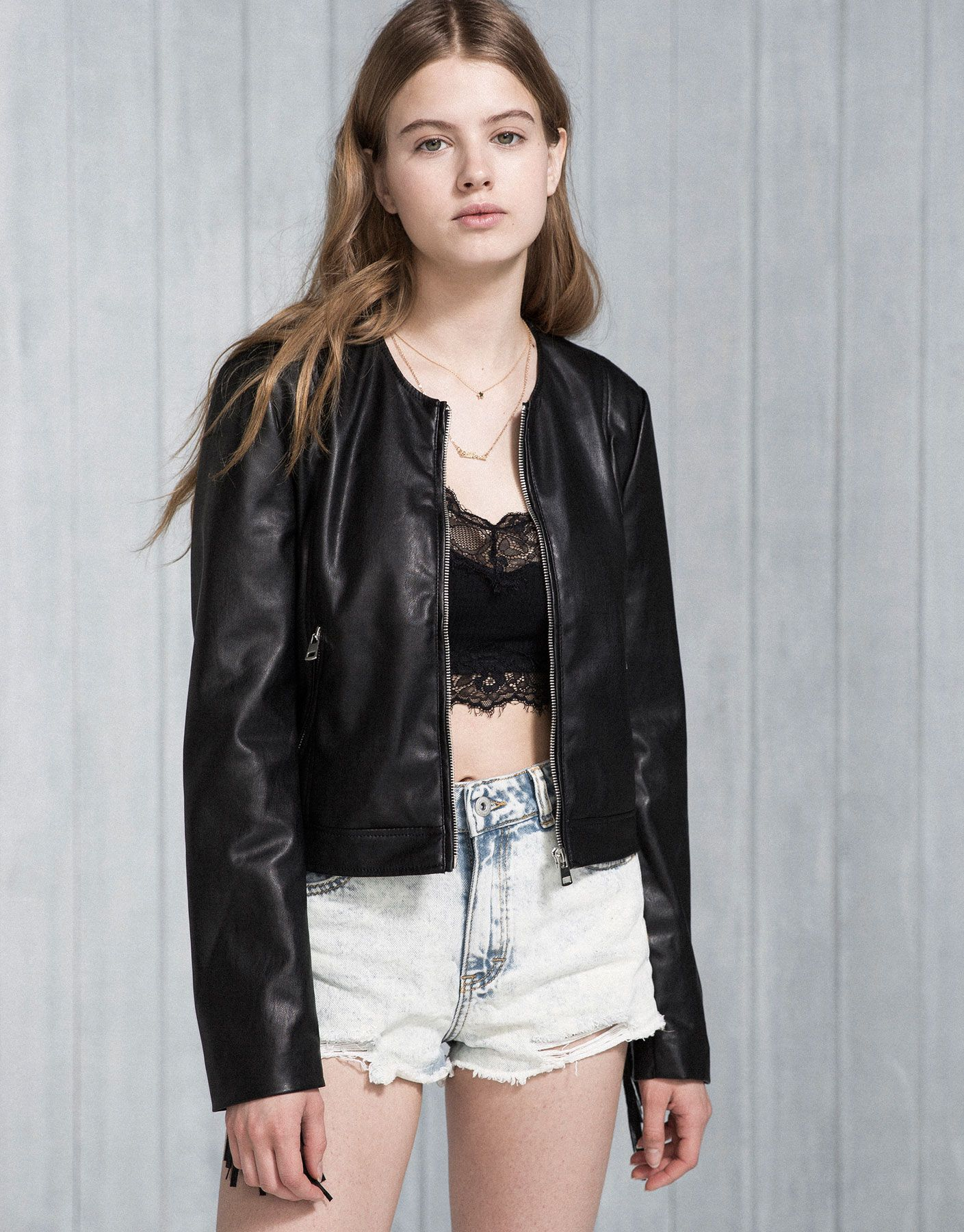 FRINGED FAUX LEATHER JACKET PACIFIC GIRLS WOMAN PULL