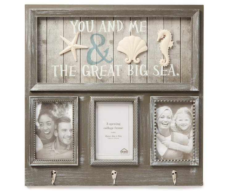 Gray Seashell Collage Frame With Hooks Big Lots In 2020 Collage Frames Grey Picture Frames Seashell Frame