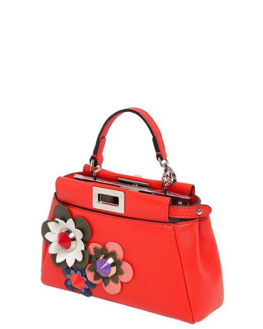 a7fe75414644 Women s Red Micro Peekaboo Flower Appliqués Bag