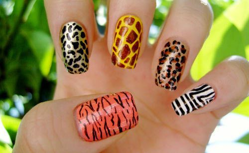 This would look best with all nails painted a base color, with just one on each hand an animal print to make it POP!
